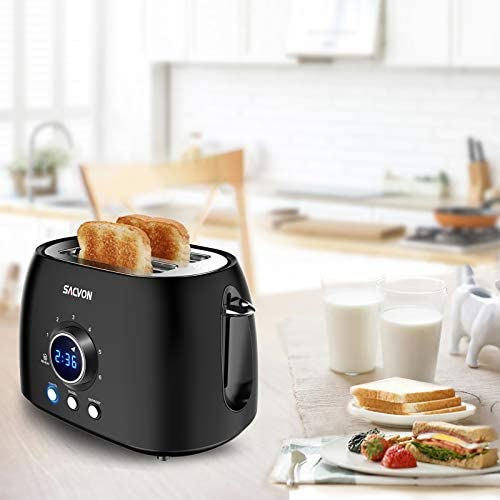 2 Slice Toaster, SACVON Stainless Steel Bagel Toaster with Big Timer, Wide Slot, Removable Tray, Black