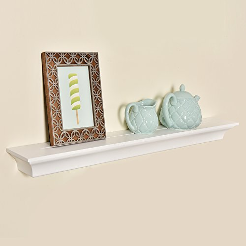 - WELLAND Classic Painted Wall Floating Shelf Crown Molding Mantle Display Ledge Shelves, 36-Inch, White