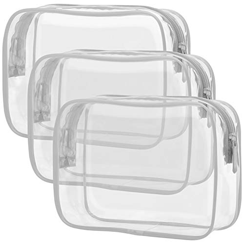 Clear Toiletry Bag, Packism 3 Pack TSA Approved Toiletry Bag Quart Size Bag, Travel Makeup Cosmetic Bag for Women Men, Carry on Airport Airline Compliant Bag