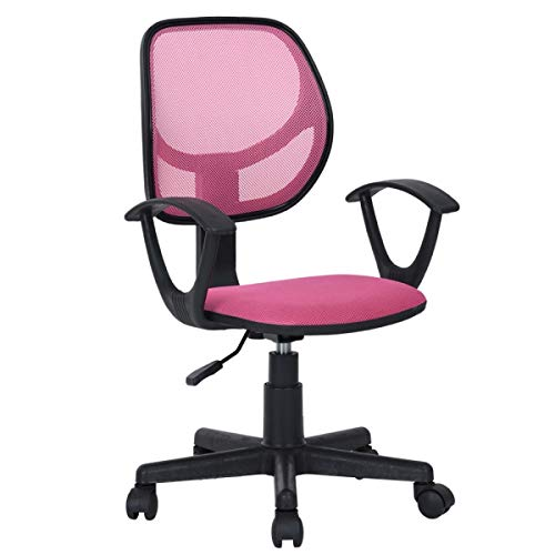 Pink Office Task Desk Chair Adjustable Mid Back Home Children Study Chair