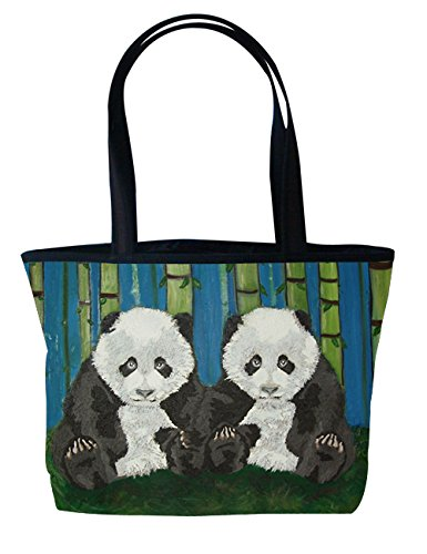 Panda Cubs Shoulder Bag, Vegan Tote Bag, Handbag- Animals - From My Original Paintings - Panda Cubs