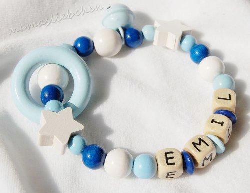 Mamasliebchen Greifling mit Name Wunschname Baby Beißring hellblau 20161