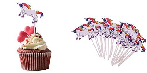 Topstuffsz- Colorful Rainbow Unicorn Cartoon Cupcake Toppers Picks for Birthday,N. Year,Easter,Halloween Party (Halloween Cupcakes Cartoon)