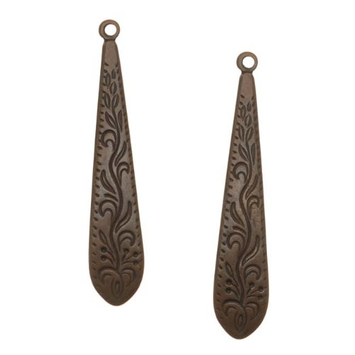 Vintaj Natural Brass Ornate Long Etched Dangle Drop Charms 36mm (2)