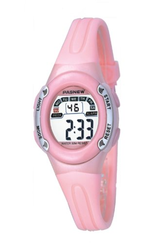 High Quality PASNEW W/Proof Girls Sport Digital Wrist Watch Pink PV Strap