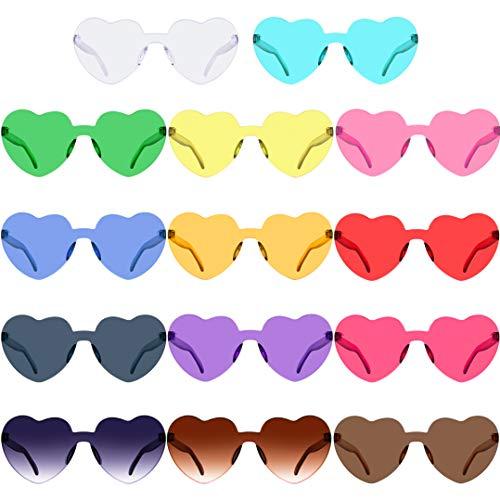 SIQUK 14 Pairs Rimless Heart Shape Sunglasses Frameless Heart Sunglass, 14 Color