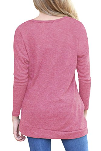 La Mujer Elegante De Manga Larga Botón Acanalada T Shirt Blusas Tops Pink