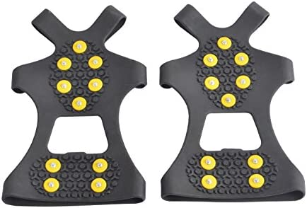 WAYPOR Ice Grips, Traction Cleats, Ice Cleat, Easy Slip On, Outdoor Durable, 10 Steel Studs, Stretchable, Prevent Slipping from Ice/Snow, Extra Studs Included in Each Package.