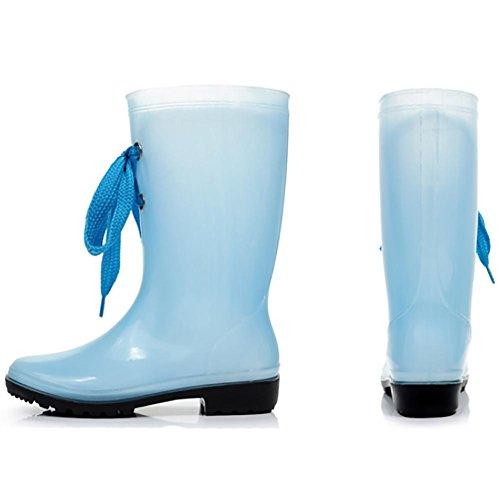 Rutschfest Transparent Gummistiefel wasserdicht Blue Pfützen Langschaft SYYAN Damen wqS7IFIg