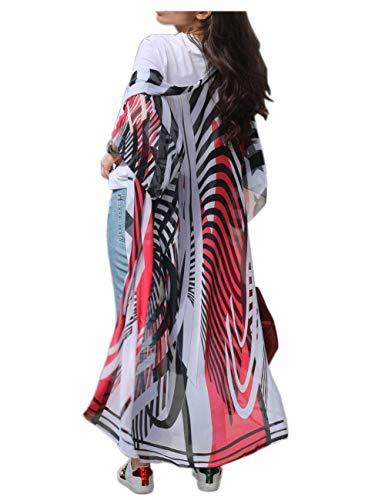 - GRACIN Womens Beach Swimsuit Cover Up, Long Floral Kimono Cardigan Bohemian Loose Blouse (Chiffon-Red Zebra Print)