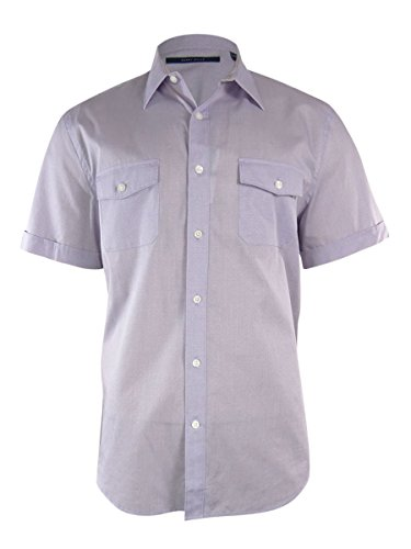 Perry Ellis Men's Short Sleeve Micro Dot Shirt, Crocus, Small -