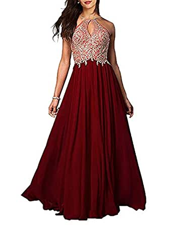 TTYbridal A-line Halter Prom Dress Long Appliqued Chiffon