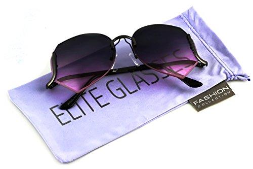Elite OVERSIZED VINTAGE Style SUN GLASSES Upside Down Rimless - Upside Down Sunglasses