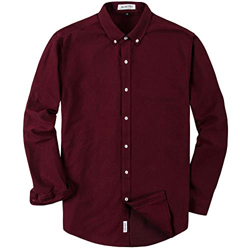 MUSE FATH Men's Long Sleeve Oxford Solid Casual Button Down Point Collar Shirt-Wine Red-S