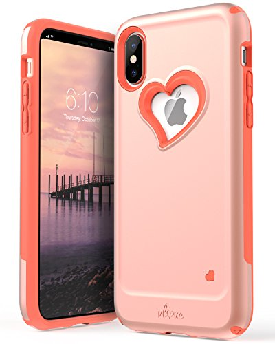 (iPhone Xs/X Case, Vena [vLove] Heart Shape | Dual Layer Protection, Hybrid Bumper Cover Case for Apple iPhone Xs 2018 / iPhone X, 10 2017 5.8