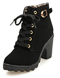 Bumud Women's Faux Leather Lace Up Chunky Heel Ankle Boot