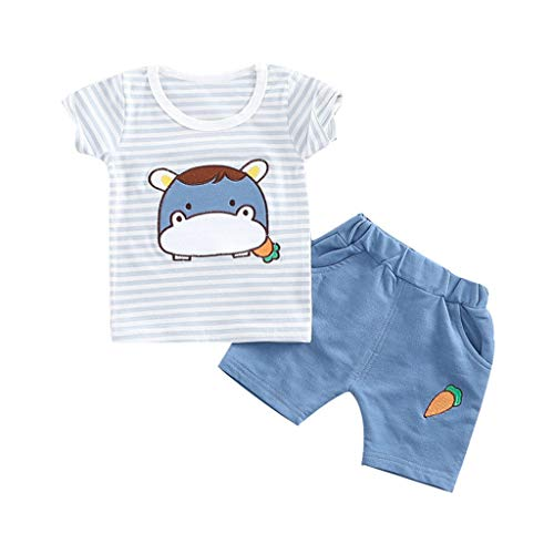 Toddler Boys Short Sleeve Striped Cartoon Cow Tops T-Shirt +Short Pants Two-Piece Set (6M-3Y) SIN vimklo White