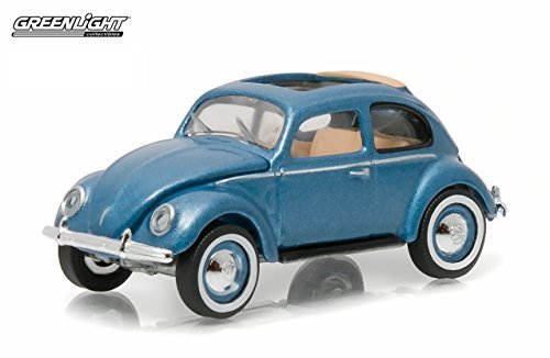 1951 Volkswagen Beetle (1951 Volkswagen Type 1 Split Window Beetle Azure Blue with Sunroof 1/64 by Greenlight 29840 C)