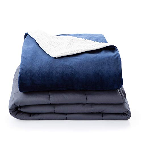 Linenspa5PoundWeightedBlanketwithMinkyand Sherpa Duvet Cover Now $52.49 (Was $52.49)