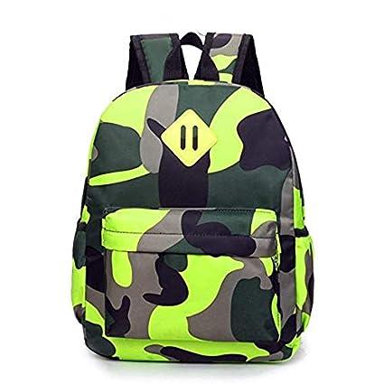 f19f42f72fd5 TeMan Kids Backpack Kindergarten Cartoon Schoolbag (Green Camo)
