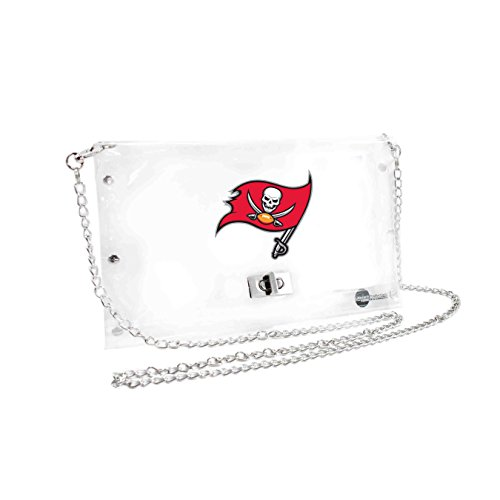 NFL Tampa Bay Buccaneers Clear Envelope Purse, 10 x 5 x 6.5-Inch, Clear Tampa Football Money Clip