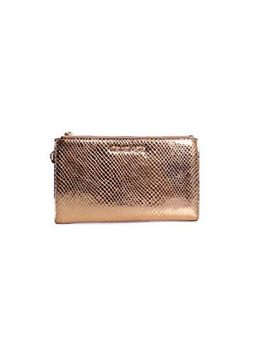 Michael Kors Jet Set Double Zip Metallic Snake Skin Embossed Leather Wristlet Wallet in Gold