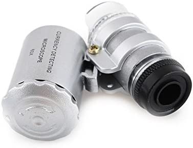 linjunddd 60x Loupe Tragbare 60x Bewegliches Mikroskop Lupe Mikroobjektiv Led-Beleuchtung Zoom Eye-juwelier-Lupe-Uhr-Telefon Wartung Silber Lupe Falschgeld-erkennung