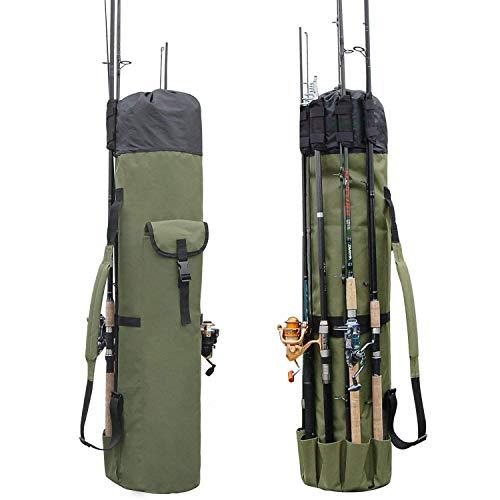 Tackle Ice Fishing Rod - Lixada Fishing Bag Fishing Rod Reel Case Carrier Holder Fishing Pole Storage Bags Fishing Gear Organizer Travel Carry Case Bag