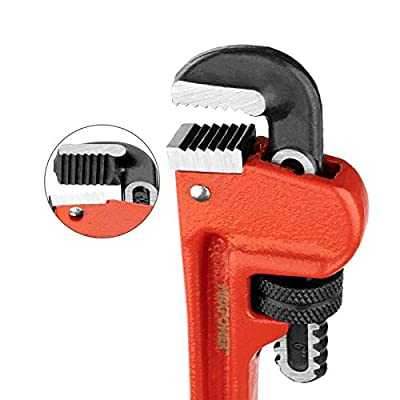 MAXPOWER Heavy Duty Pipe Wrench 6-Inch(150mm), Straight Pipe Wrench with Drop Forged, Heat-Treated Cr-Mo Floating Hook Jaw and Ductile Casting Iron I-Beam Handle, Red