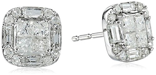 10k White Gold Diamond Cushion Cut Stud Earrings (1/2 cttw, H-I Color, I2-I3 Clarity)