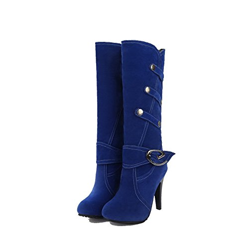 On Closed AmoonyFashion Toe Boots Round Blue Heels Pull Frosted High Solid Women's OO7z4q