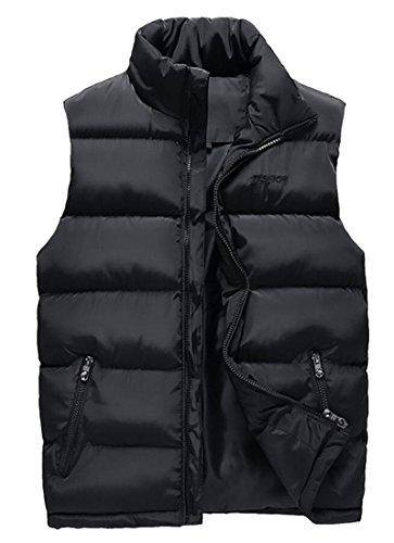 Zipper Black Men's Vest Full Down Puffer amp;W M Warm Sleeveless amp;S ZU4SURvA