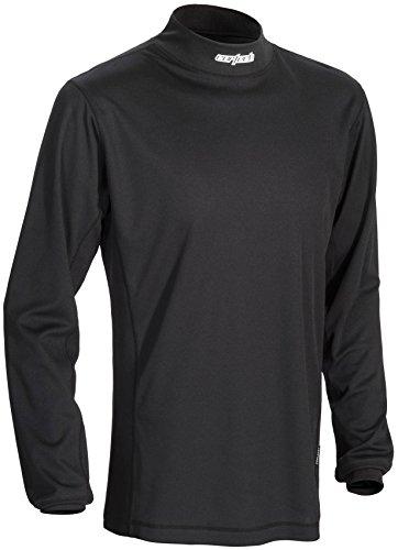 Cortech Journey Coolmax Mock Long-Sleeve Crew Neck Shirt Base Layer Men's Undergarment Snow Body Armor - Black / (Snow Crewneck Top)