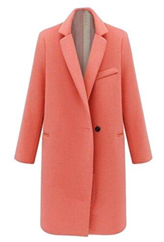 Pivaconis Womens Elegant Lapel One Button Wool Blend Pea Coat Overcoat 3 S