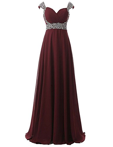 Belle Ball Dresses (Belle House Women Long Prom Dresses 2018 With Straps A Line Formal Evening Dresses Ball Gown Burgundy Bridesmaid Dresses)