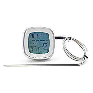 NEWZOR BBQ Oven TouchScreen Cooking Thermometer Timer with Stainless Steel Probe Digital Kitchen Meat Thermometer Countdown Time&Sound Alarm (Silver)