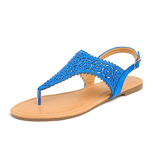 DREAM PAIRS MEDINIE Women Rhinestone Casual Wear Cut Out Flat Sandals Royal Blue Size 8.5