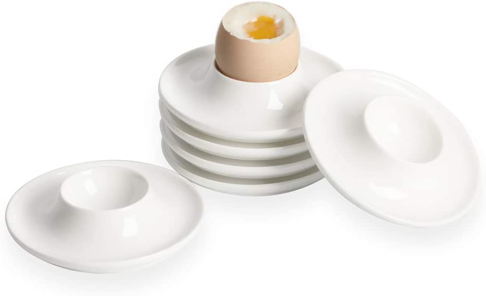 ONTUBE Ceramic Egg Cups Set of 6,Porcelain Egg Stand Holders for Hard Boiled Eggs, White