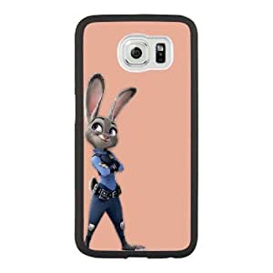 Generic Fashion Hard Back Case Cover Fit for Samsung Galaxy S6 Cell Phone Case black Zootopia with Free Tempered Glass Screen Protector STR-3304045