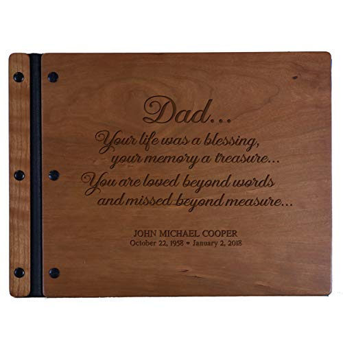 LifeSong Milestones Engraved Personalized Solid Cherry Wood Memorial Sympathy Ceremony Guest Book for Funeral Service - Loss of Loved One Celebration of Life 13.5x10 (Dad Cherry)