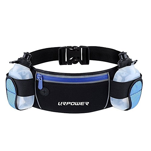 URPOWER Running Belt Multifunctional Zipper Pockets Water Resistant Waist Bag, With 2 Water Bottles Waist Pack for Running Hiking Cycling Climbing and for 6.1 inches Smartphones -