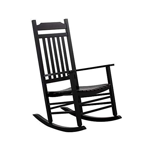 B&Z KD-30B Wooden Rocking Chair Porch Rocker Outdoor Classic Indoor (Black) (Indoor Chair Rocking Wooden)