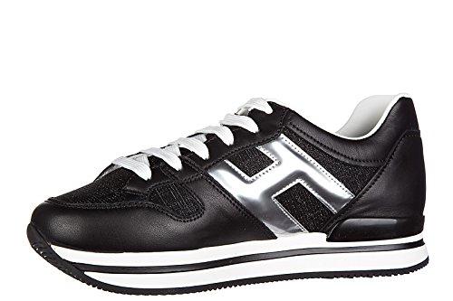 Hogan chaussures baskets sneakers femme en cuir h222 spor xl h grande noir