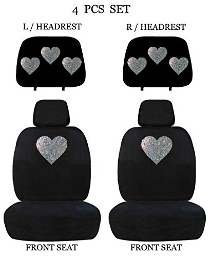 ALLBrand Universal Fit Front 4-Piece Full Set Crystal Bling Rhinestone Studded Low Back Front Bucket Seat Covers with Separate Headrest Covers (White Heart) ()