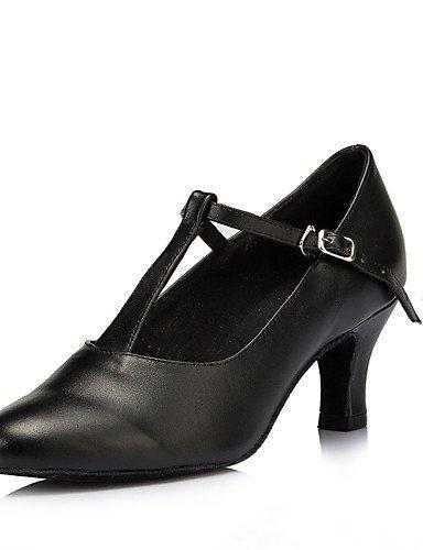 ShangYi Non Customizable Womens Dance Shoes Modern/Salsa Flocking Low Heel Black Black