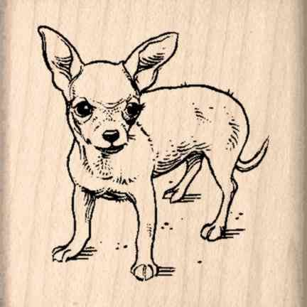 Chihuahua Rubber Stamp - 1-1/2 inches x 1-1/2 inches