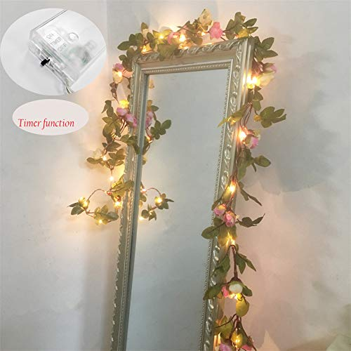 FLCSIed 2 Meter 20 LED Flower Leaf Garland Battery Operate Silver LED Fairy String Lights For Wedding Decoration Party Event with Timer (String Flower For Bedroom Lights)