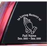 Personalized In Loving Memory Vinyl Decal Sticker - Praying Hands
