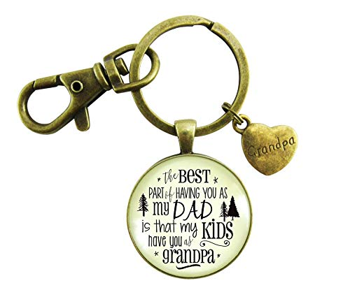 Grandpa Keychain Dad From Daughter Best Part My Kids Have You Jewelry Gift Inspired Quote Pendant For Men