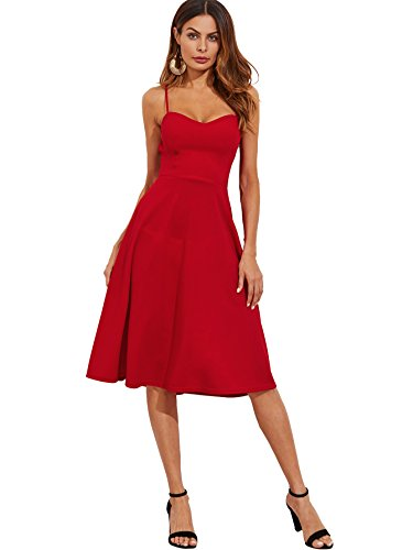 Floerns Women's Spaghetti Straps Backless Flared Cocktail Party Dress Red S